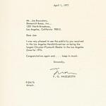 1977, Letter from Chrysler