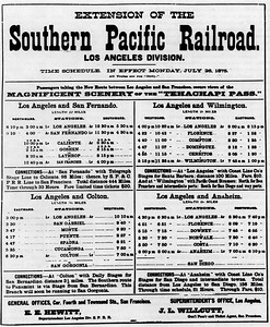 1875, Southern Pacific schedule