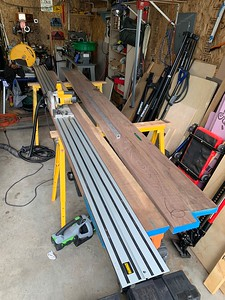 Using a track saw to join the 11' long boards