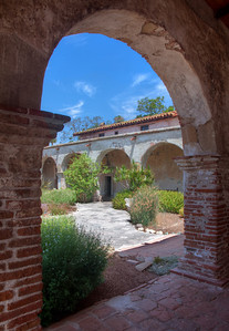 "Archway, Mission San Juan Capistrano, CA. Canvas print available, with painting-like look and gallery wrap mounting, 18""x24"".  Fine art print also available, matted and framed, 24""x32"""