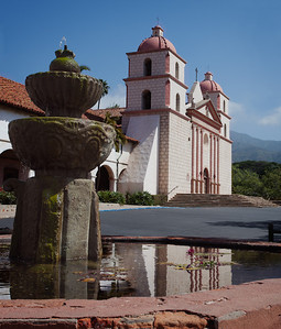 Fountain and facade, Mission Santa Barbara, CA