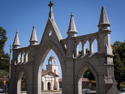 Design: lower left third with leading lines. Reconstruction of Mission Santa Cruz, CA