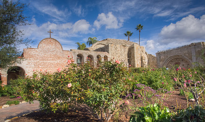 View from entrance garden, Mission San Juan Capistrano, CA