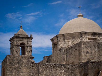 Bell tower and dome, Mission San José, San Antonio, TX