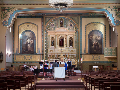 Interior with choir rehearsal, Mission Santa Clara, CA