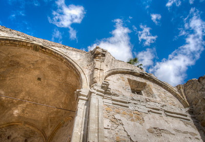Stone church and clouds, Mission San Juan Capistrano, CA