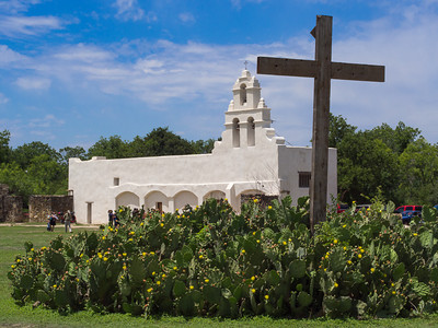 Façade with cross, Mission San Juan, San Antonio, TX