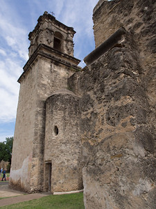 Bell tower and stairway, Mission San José, San Antonio, TX