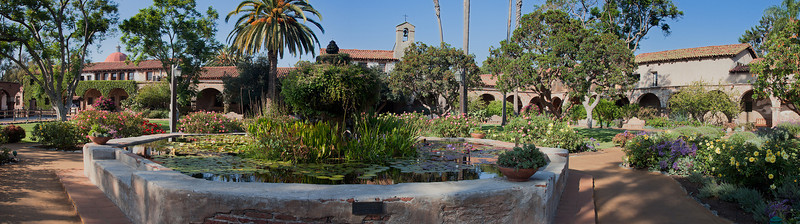 Fountain and cloister, Mission San Juan Capistrano, CA