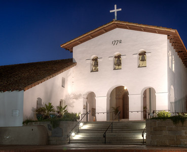 Evening facade, Mission San Luis Obispo, CA