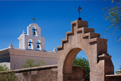 Bell tower and archway, Mission San Xavier del Bac, Tucson AZ