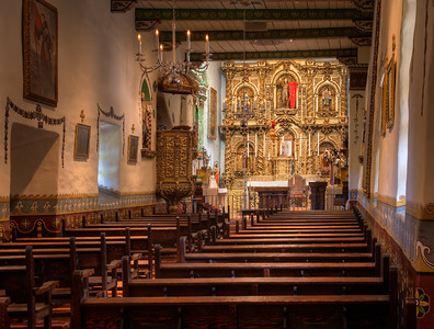 "Design: upper right third with leading lines. Interior, Fr. Serra Chapel, Mission San Juan Capistrano, CA. Fine art print available, matted and framed, 22""x28"""