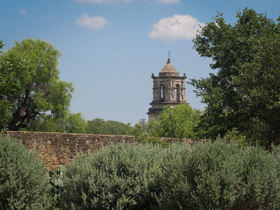 Tower from outside compound wall, Mission San José, San Antonio, TX