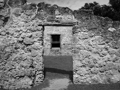 Doorway ruin and window, Mission Conceptión, San Antonio, TX