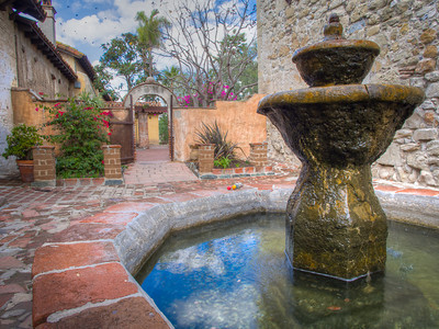 Fountain and patio,  Mission San Juan Capistrano, CA