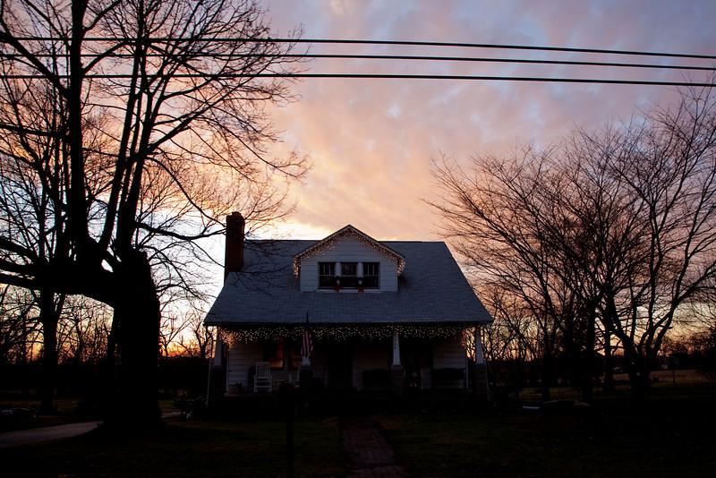 Christmas House Sunset