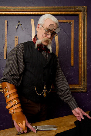 """steampunk tailor"" #5612 I like the look of the glasses and lenses in this pic far more that the others, It does look a bit like I broke my forefinger in the scissor hand but I am basically happy with this whole shot"