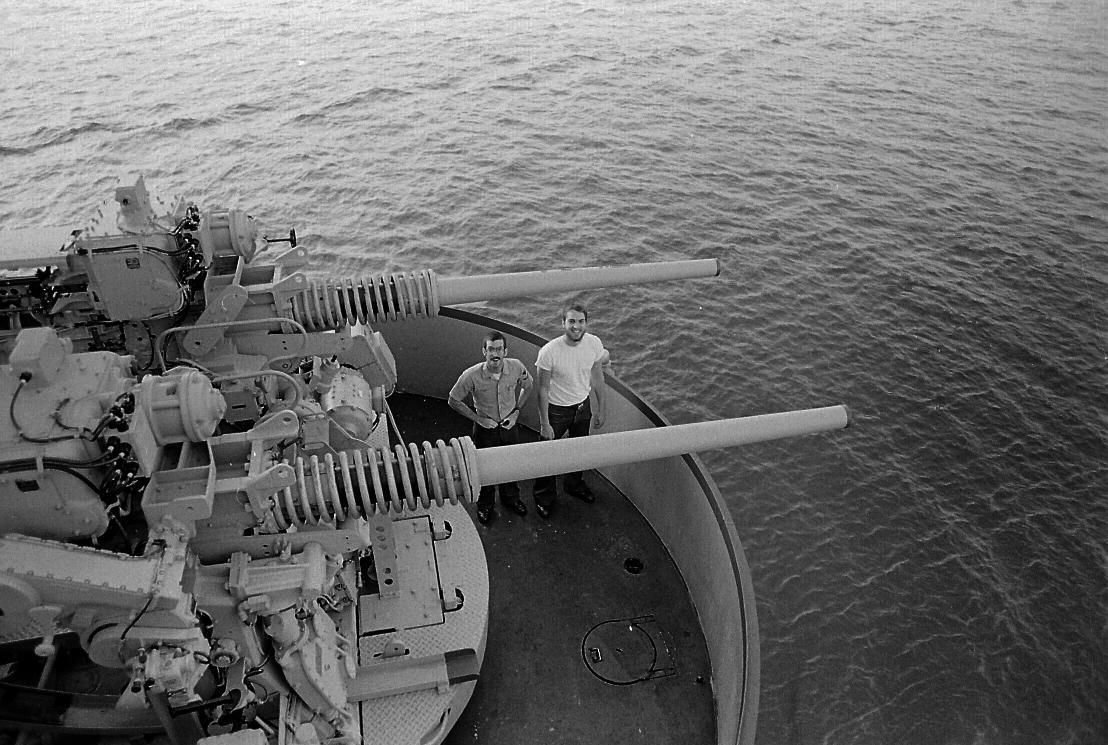 Ed Kidder and Dave Stewart. In the aft gun turret.