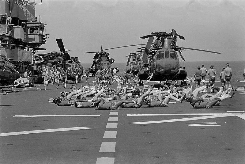 Marines working out on the flight deck on the way to Beirut.