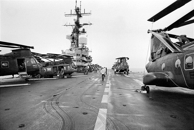 The flight deck from the bow looking aft.