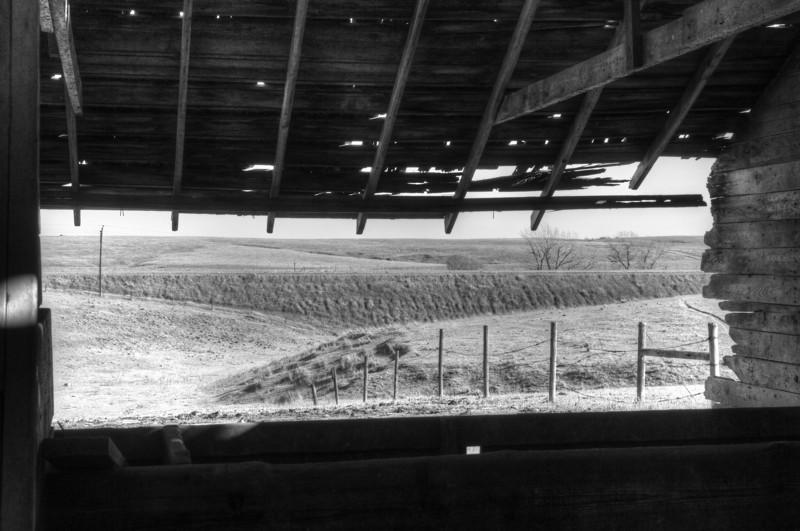Horse's view, abandoned barn, Miller, NE (Nov 2012, HDR)