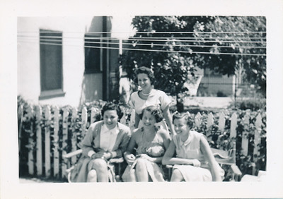 Shirley Gorshow, sister of Ted Rosen. Regina Greenberg, Sonah Rosen (Burcal on San Fernando Road). Standing is Margie 1938