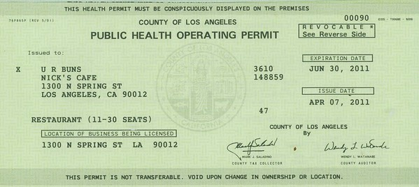 2011, Public Health Operating Permit
