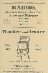 Radios, Washers, Ironers
