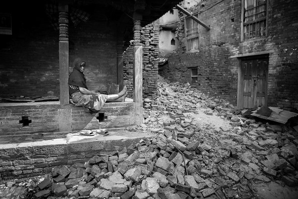 River of rubble in Bhaktapur.