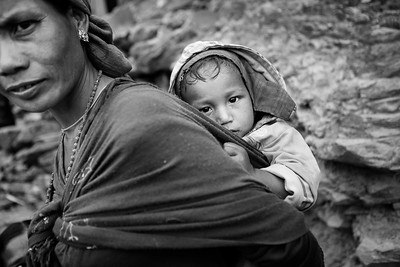 A villager with her child in the Gorkha region.