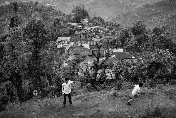 Villagers in the mountains of the Gorkha area, after the first earthquake.
