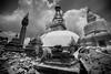 The badly damaged Swambunath, Monkey Temple in Kathmandu.