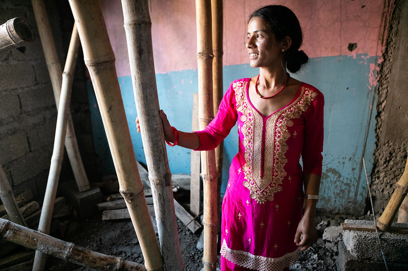 Raj Kumari and her husband took a loan with WSDO co-operative to build their first house. In 5 months of construction, it will be ready for the whole family to live in. She is very proud to show all the progress going on and how beautiful it will soon be.