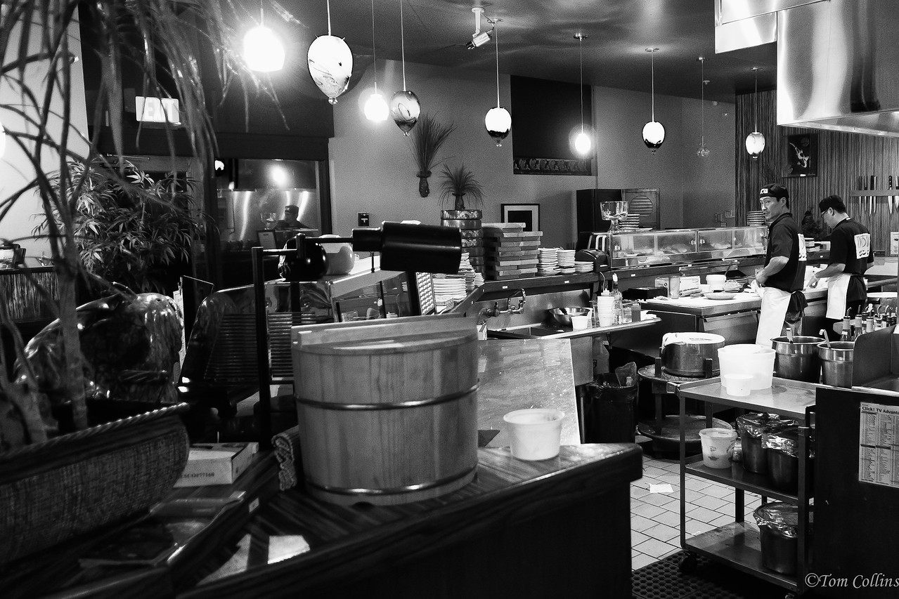The kitchen at the Two Koi restaurant.