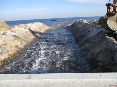 After restoration: flow from the road/culvert into Buzzards Bay.