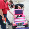 Don Cross (L), Ben Hutcheson (C) and Kevin Fusselman (R) try to determine what went wrong with the Jeep controllers.