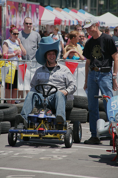 """Kyle """"The Lone Hacker"""" DeLoske prepares for the race of the event, a 30-lap event."""