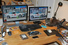 "This is the finished desk with 24"" and 22"" LCDs, keyboard, mouse, clutter, and one cat."