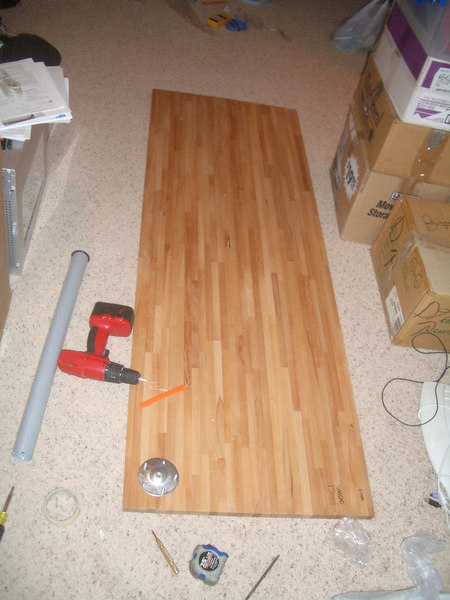 "IKEA butcher block Beech wood counter top table, 1"" thick solid wood. Cost: $59"