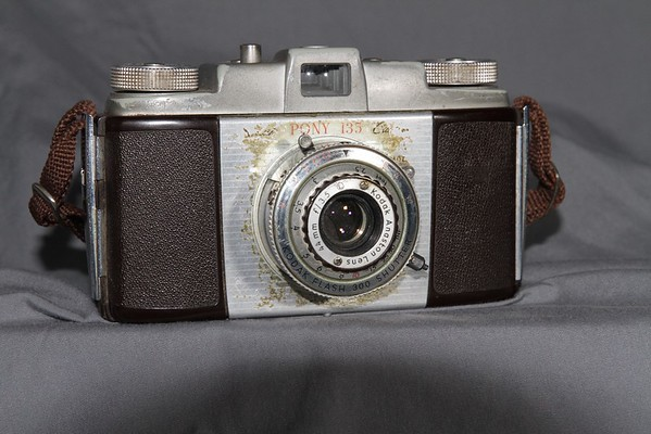 A Kodak Pony 135 Model C.  My father bought this camera around 1956.