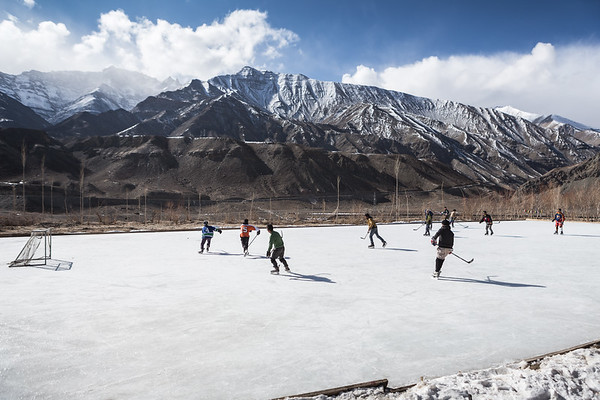 Skating rink and Himalayas are the schoolyard for the students of SECMOL, a school run by a NGO.