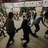 Children and volunteers dance in Kara Tepe refugee camp as very Saturday night is dance night in the camp.<br /> Kara Tepe refugee camp, Lesvos Island, Greece. May 2017<br /> -----------<br /> Un groupe d'enfants et de bénévoles dansent à l'intérieur du camp de réfugiés de Kara Tepe lors de l'une des traditionnelles soirées dansantes célébrées dans le camp.<br /> camp de réfugiés de Kara Tepe, Ile de Lesbos, Grèce. Mai 2017