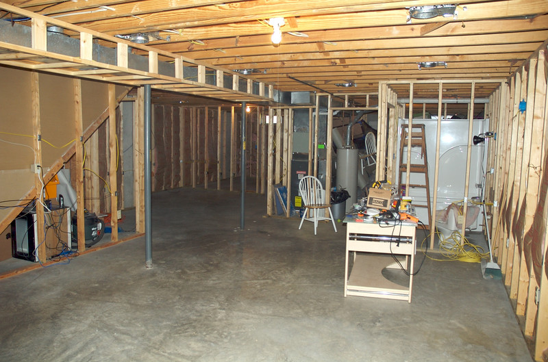Cleaned up the basement in preperation for the drywall delivery.