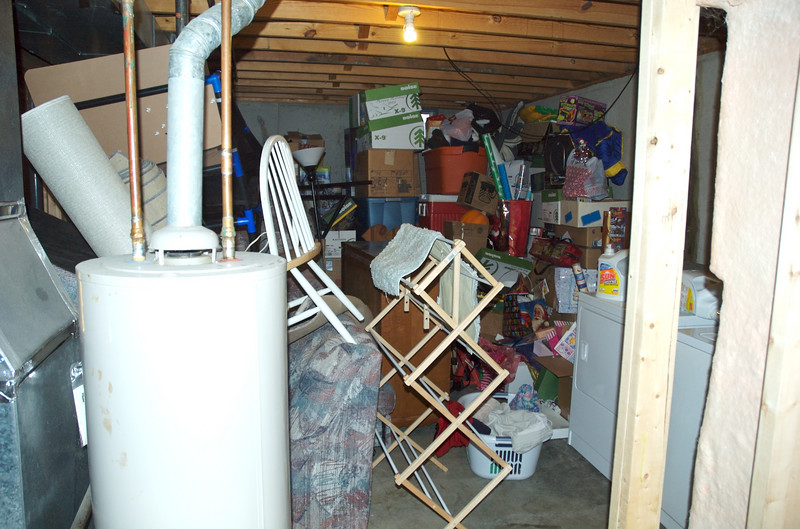 Everything is stored in the storage/washer & dryer area in preperation for drywall