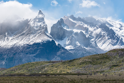 Patagonian steppe with Cordillera del Paine in the background