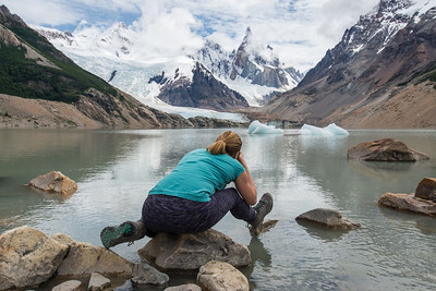 Victoria photographing Cerro Torre reflected in Lago Torre