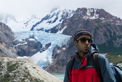 Vinesh with Glaciar Piedras Blancas in background