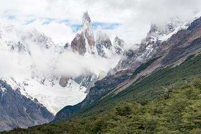 Cerro Torre towering above glacial valleys
