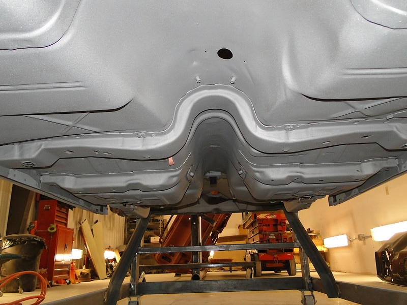A good example of how solid the car was is this shot of the underside after sandblasting.