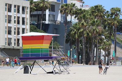 New Long Beach  Pride Lifeguard Tower replaces original destoryed by fire